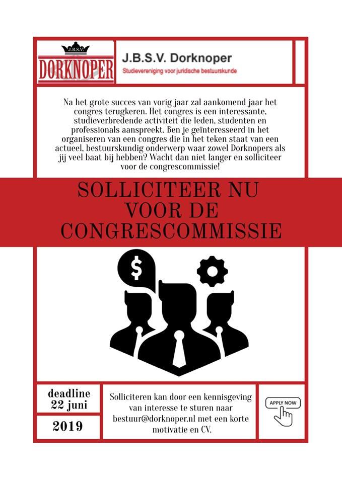 Solliciteer voor de Congrescommissie.